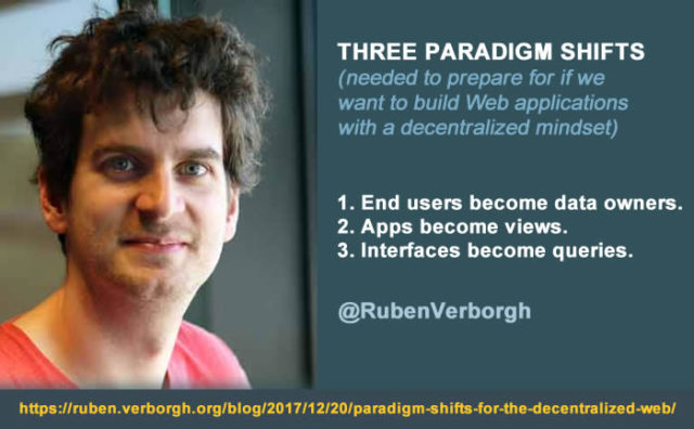 3 paradigm shifts need for decentralized web applications according to Ruben Verborgh - check them all out in detail