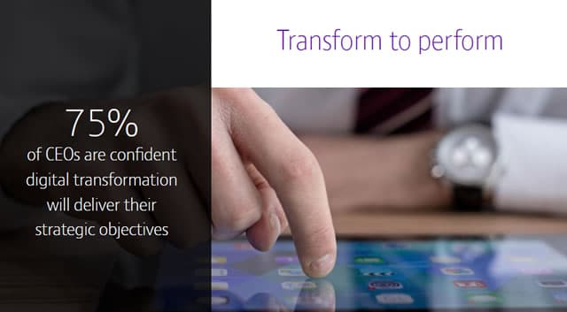 75 percent of CEOs of multinationals are confident that digital transformation will deliver their strategic objectives according to the BT Global Services CEO digital transformation report - source SlideShare infographic