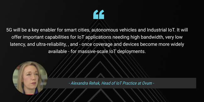 Alexandra Rehak IoT practice head at Ovum Informa on 5G at the occasion of the 5G and IoT findings in the Internet of Things World 2019 report - source picture and courtesy Ovum video