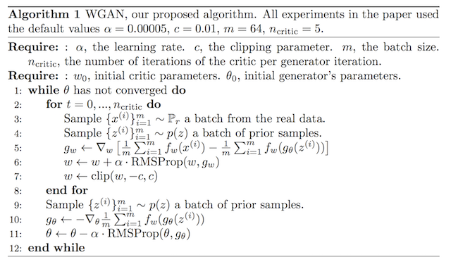 Algorithm for the Wasserstein Generative Adversarial Networks
