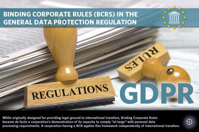 Binding corporate rules BCRs in the General Data Protection Regulation GDPR