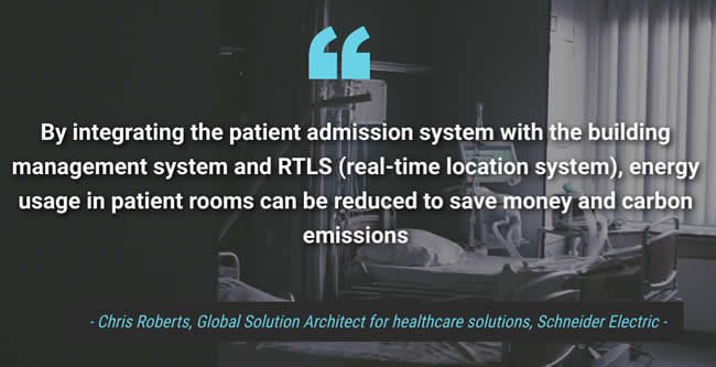By integrating the patient admission system with the building management system and RTLS real-time location system energy usage in patient rooms can be reduced to save money and carbon emissions