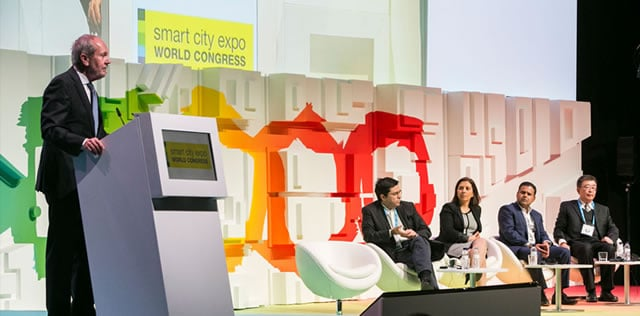 Chairman of the advisory board Jeremy Hultin during the opening session at Smart City World Expo Congress 2016 - picture source and courtesy Smart City Expo World Congress