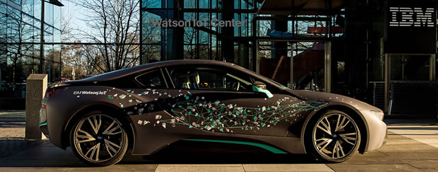 Collaboration between IBM Watson IoT and BMW Group - sports car before the Munich Watson IoT building - IBM press release