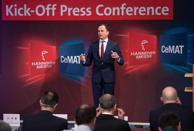 """Connect & Collaborate means that increasingly no machine and no solutions will exist that do not depend on connected production processes"" said Dr. Jochen Köckler, CEO Deutsche Messe AG at the Hannover Messe 2018 kick-off press conference - Copyright Deutsche Messe AG"