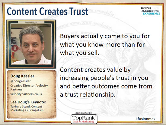 Doug Kessler Content Marketing Conference Europe 2014 quote in the content marketing eBook by TopRank Online Marketing and i-SCOOP – via SlideShare