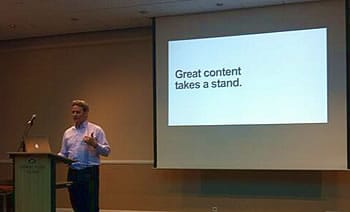 Doug Kessler at the Content Marketing Conference Europe in Antwerp – with a clear message – picture source