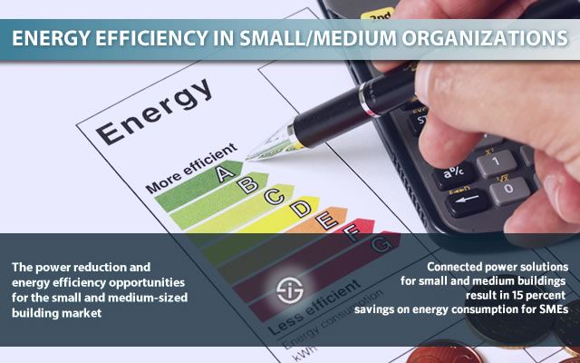 Energy efficiency in small and medium buildings and organizations - the power reduction and energy opportunities for small and medium businesses and enterprises