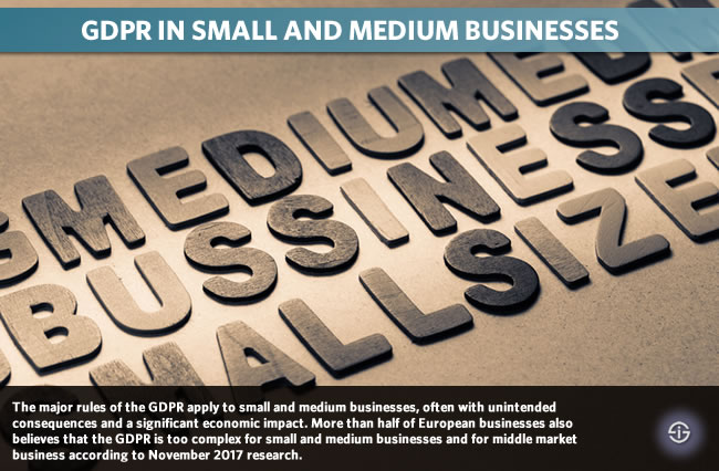 GDPR in small and medium businesses - the major rules of the GDPR apply to small and medium businesses often with unintended consequences and a significant economic impact