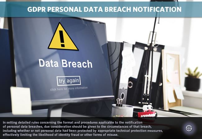 GDPR personal data breach notification and communication duties rules conditions and roles of processors controllers supervisory authorities and data subjects