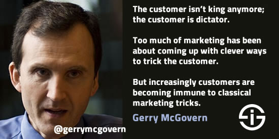 Gerry McGovern on customer-centricity and online content - picture Gerry: Twitter