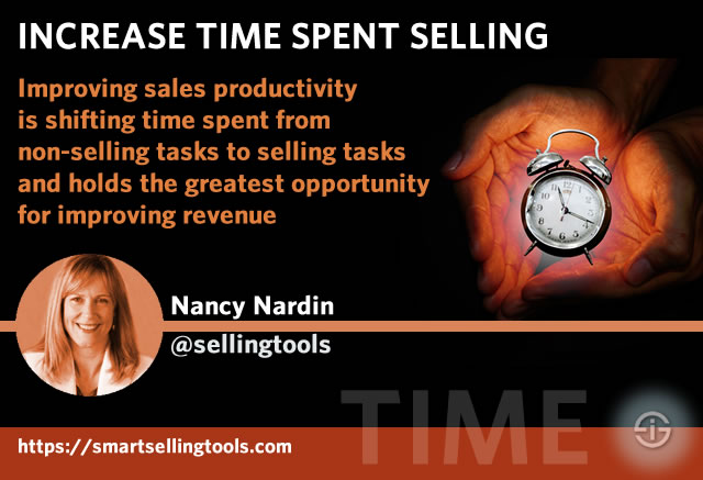 Increase time spent selling - improving sales productivity is shifting time spent from non-selling tasks to selling tasks and holds the greatest opportunity for improving revenue - interview Nancy Nardin Smart Selling Tools