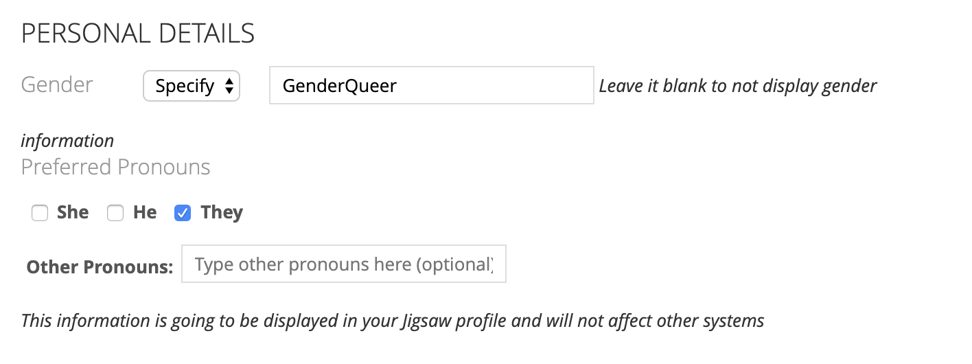 Image of an internal tool at ThoughtWorks which allows a user to specify their gender and their pronouns and how this is displayed within the tool