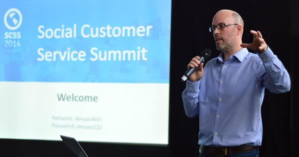 Luke Brinley-Jones opens the Social Customer Service Summit 2014 - source