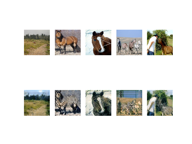Plot of Source Photographs of Horses (top row) and Translated Photographs of Zebras (bottom row) After 53,415 Training Iterations