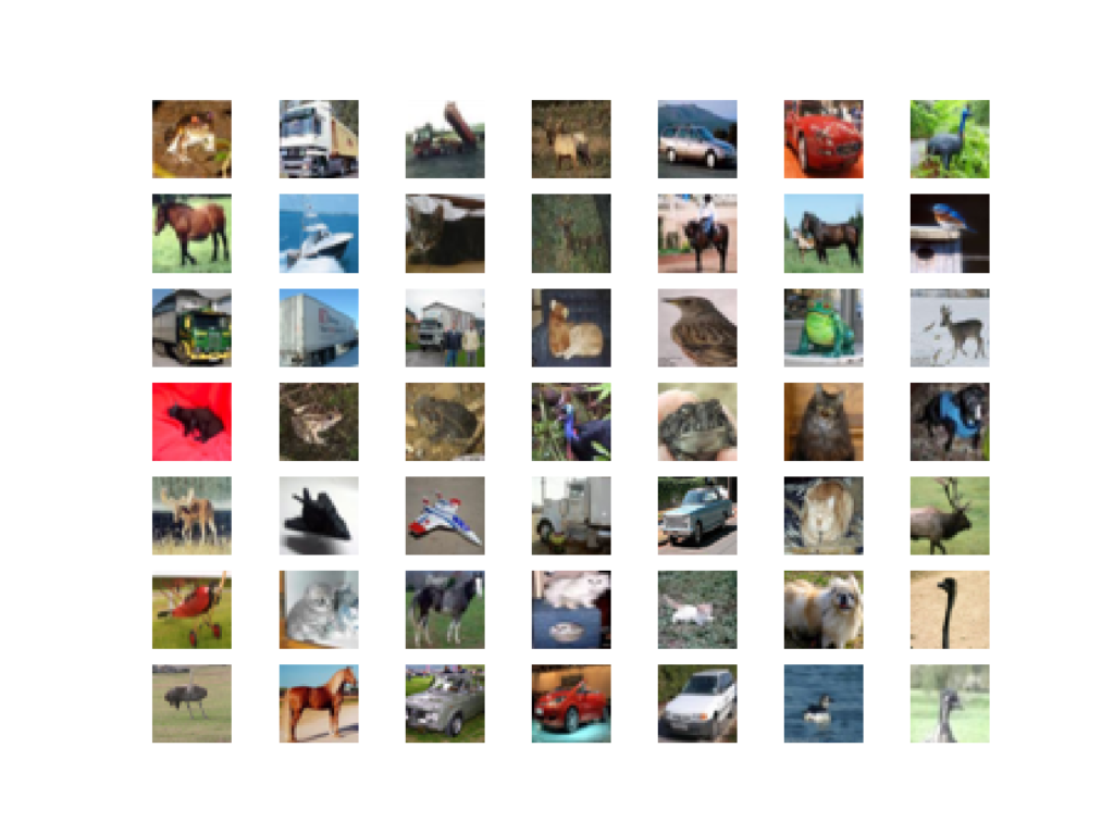 Plot of the First 49 Small Object Photographs From the CIFAR10 Dataset.