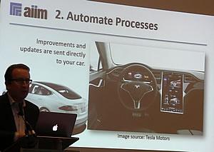Process automation - improvements and updates sent to the car - Tesla case Atle Sjekkeland AIIM Forum - picture J-P De Clerck