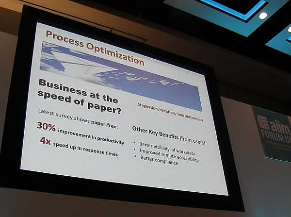 Process optimization and business at the speed of paper do not go hand in hand - Doug Miles at the AIIM Forum 2015 - picture J-P De Clerck