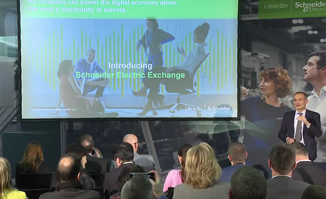Schneider Electric CEO Jean-Pascal Tricoire introduces Schneider Electric Exchange at Hannover Messe 2019 - Nicolas Windpassinger calls it part of a three-legged approach with EcoStruxure and EcoXpert