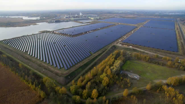 The 44MW solar park in Budel in The Netherlands that started production end 2018 - source and more info Solarcentury