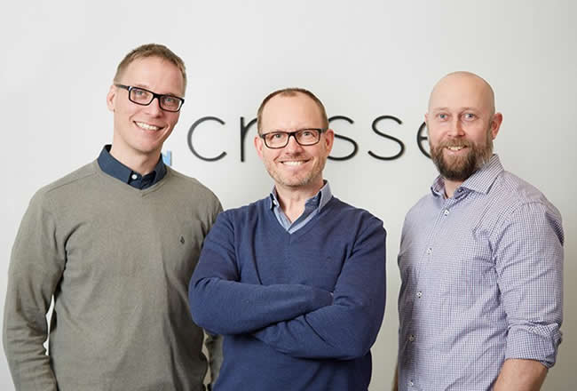 The Crosser founders from left to right CMO and co-founder Johan Jonzon CEO and co-founder Martin Thunman and Head of RandD and co-founder Uffe Bjorklund