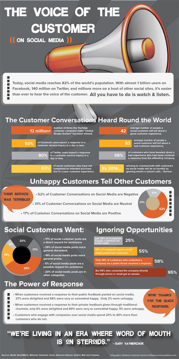 The Voice of the Customer on Social Media - a 2012 infographic from Parature