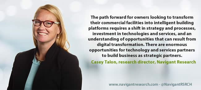 "The path forward for owners looking to transform their commercial facilities into intelligent building platforms requires a shift in strategy and processes, investment in technologies and services, and an understanding of opportunities that can result from digital transformation,"" says Casey Talon, research director with Navigant Research"