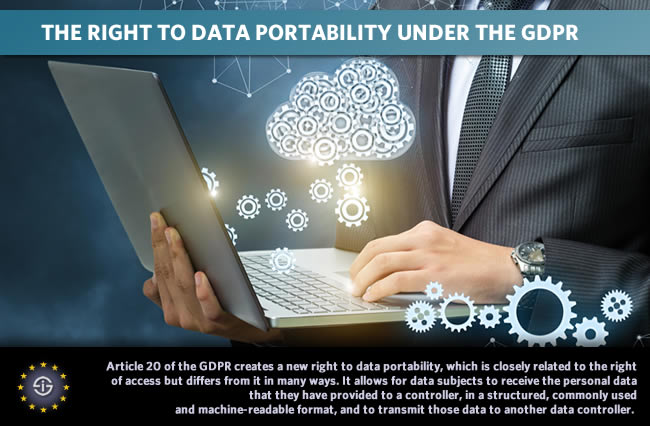 The right to data portability under the GDPR - Article 20 of the GDPR creates a new right to data portability, which allows for data subjects to receive the personal data that they have provided to a controller in a structured commonly used and machine-readable format and to transmit those data to another data controller