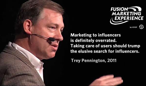 Trey Pennington during his keynote at the Fusion Marketing Experience 2011 - by i-SCOOP - on influencer marketing