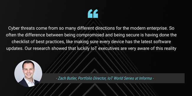 Zach Butler comments on the security-related findings of the Internet of Things World 2019 report- Zach Butler is Portfolio Director of IoT World Series - source image LinkedIn, courtesy Informa