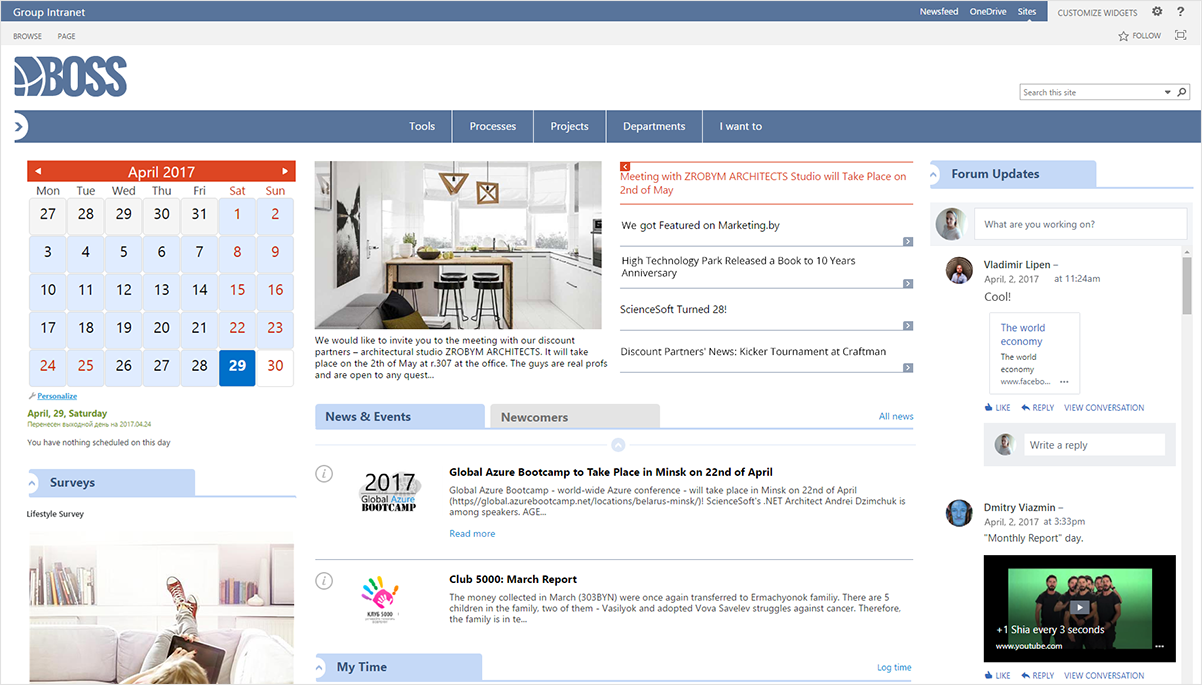 ScienceSoft SharePoint intranet