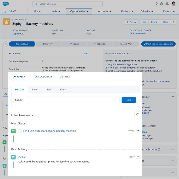 Opportunity activity block in Salesforce