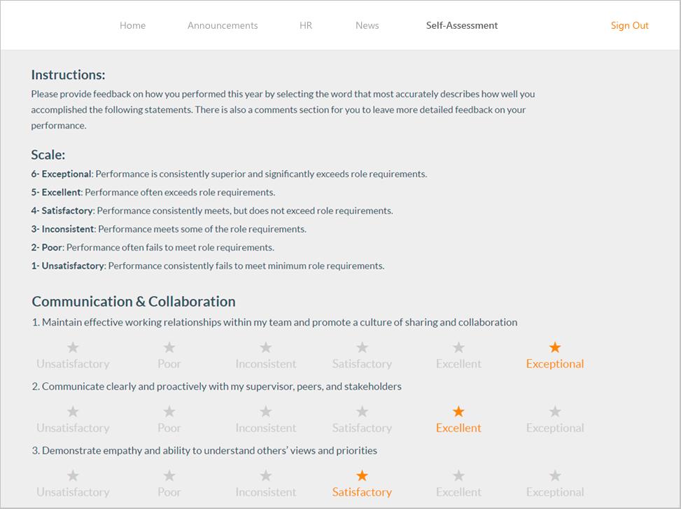 HR portal employee assessment