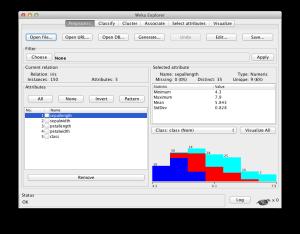 Weka Explorer Interface with the Iris dataset loaded