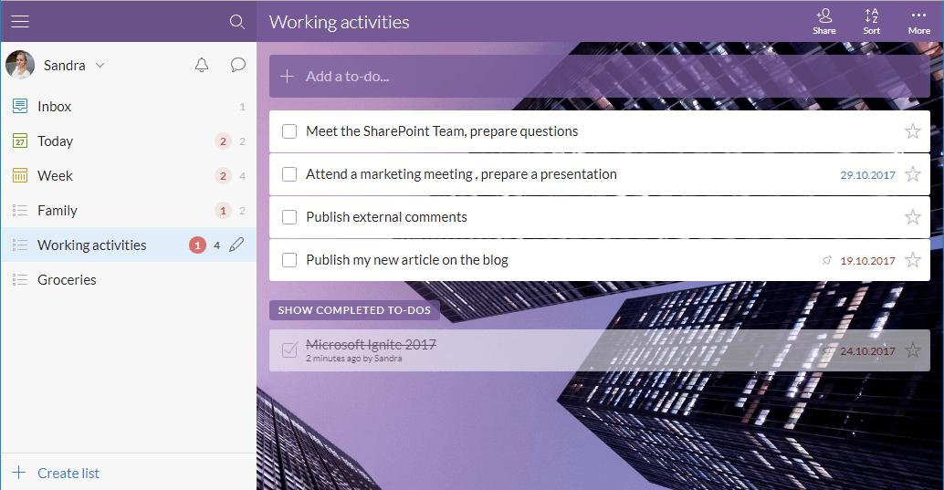 Microsoft Wunderlist