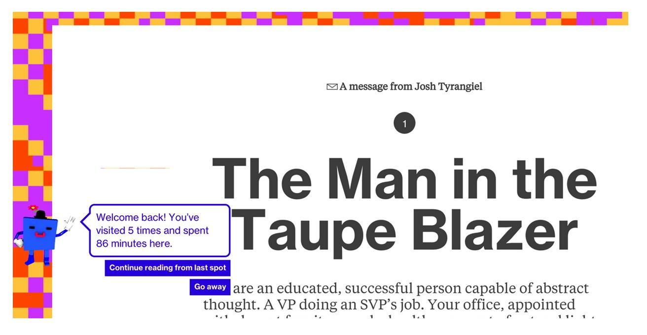 Example from What is Code in Bloomberg Businessweek showing welcome back message
