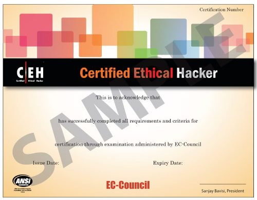 Sample of a CEH Certificate