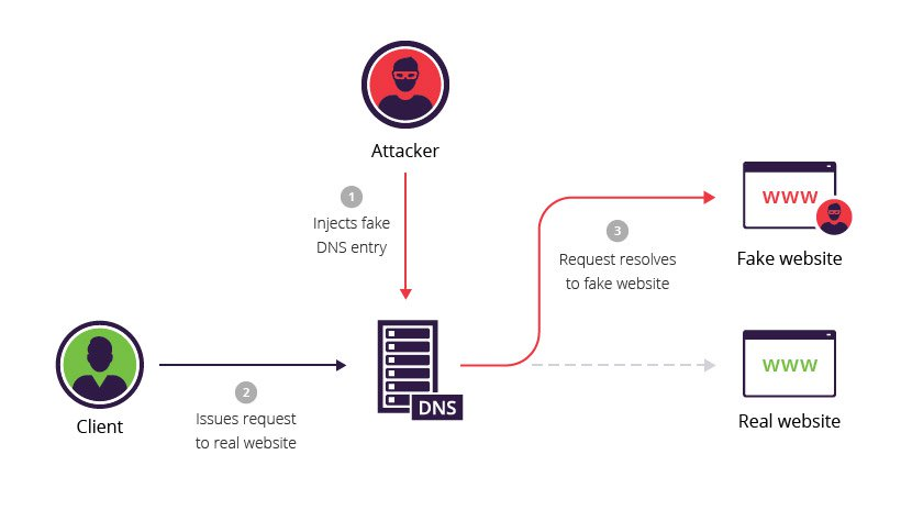 Compromised DNS server carrying out a DNS spoofing attack