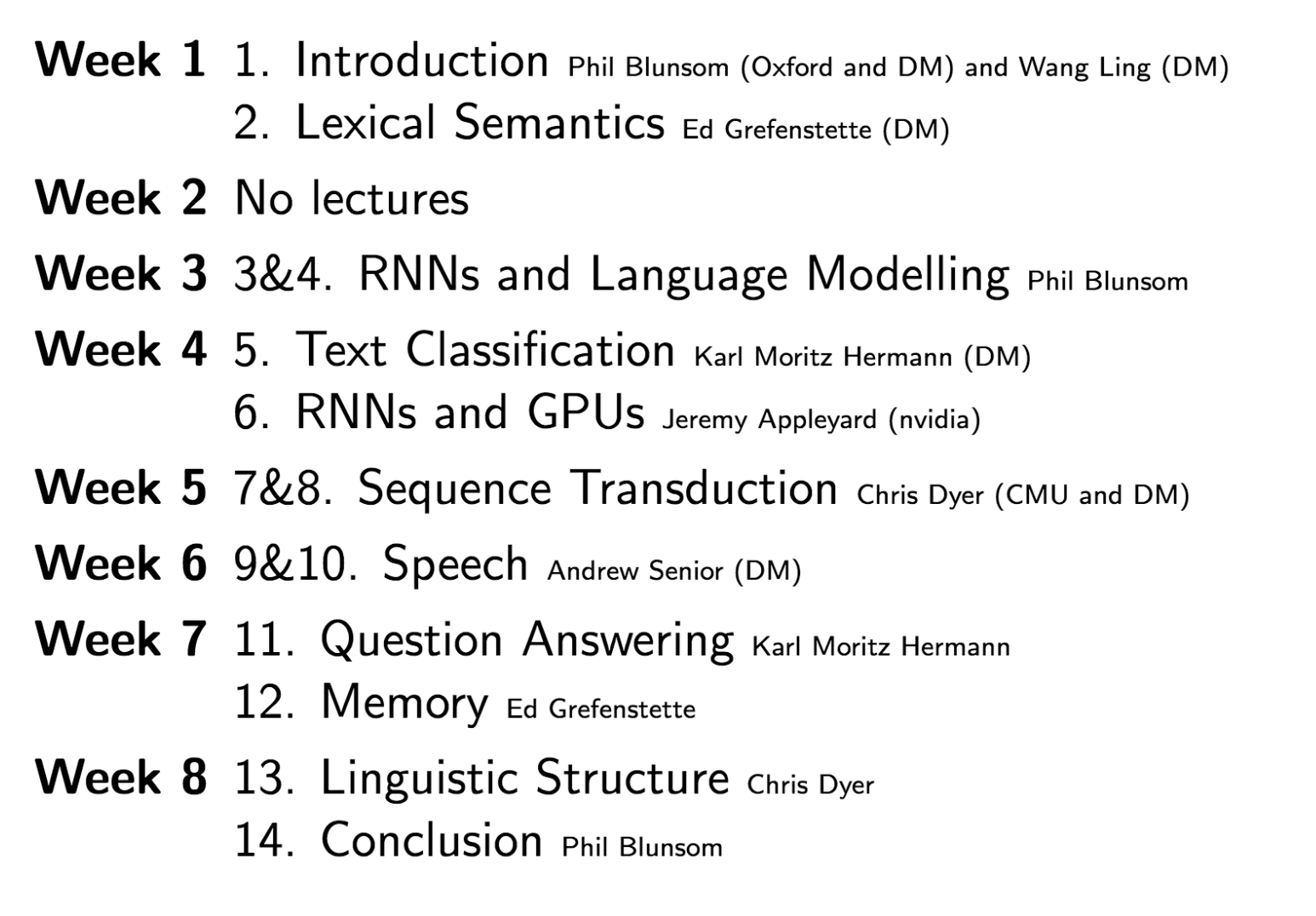 Deep Learning for Natural Language Processing at Oxford Lecture Breakdown