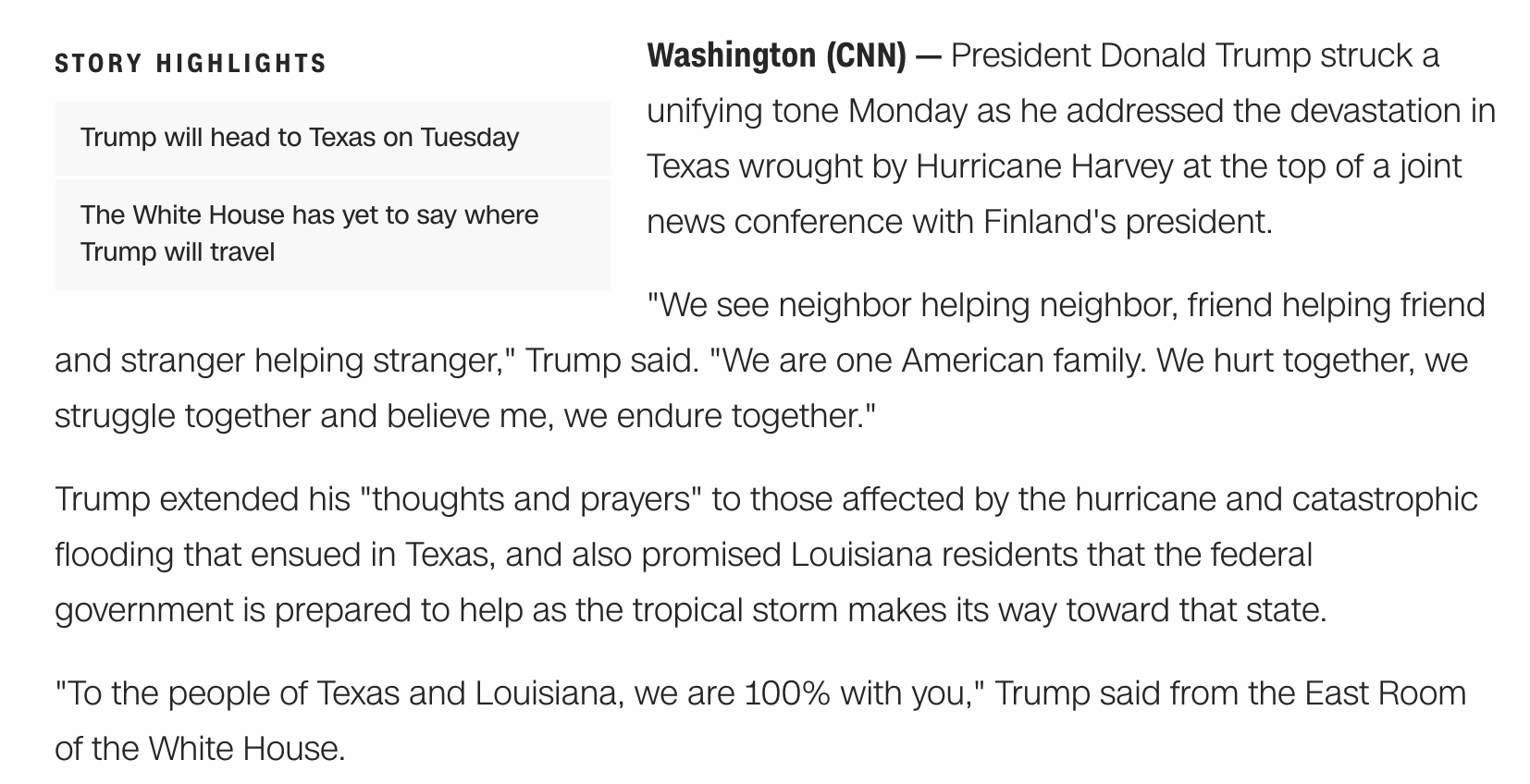 Example of a CNN News Article With Highlights from cnn.com