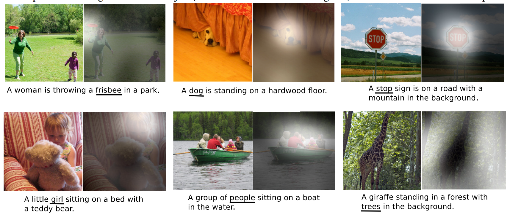 Example of image captioning with attention