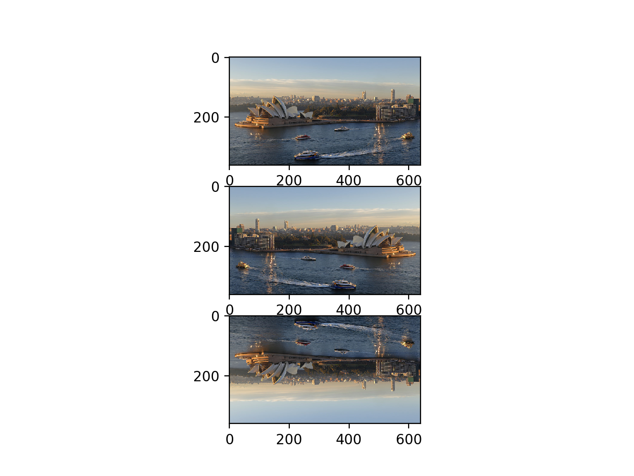 Plot of Original, Horizontal, and Vertical Flipped Versions of a Photograph