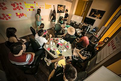 UX methods photos - stickie notes, interviews, surveys
