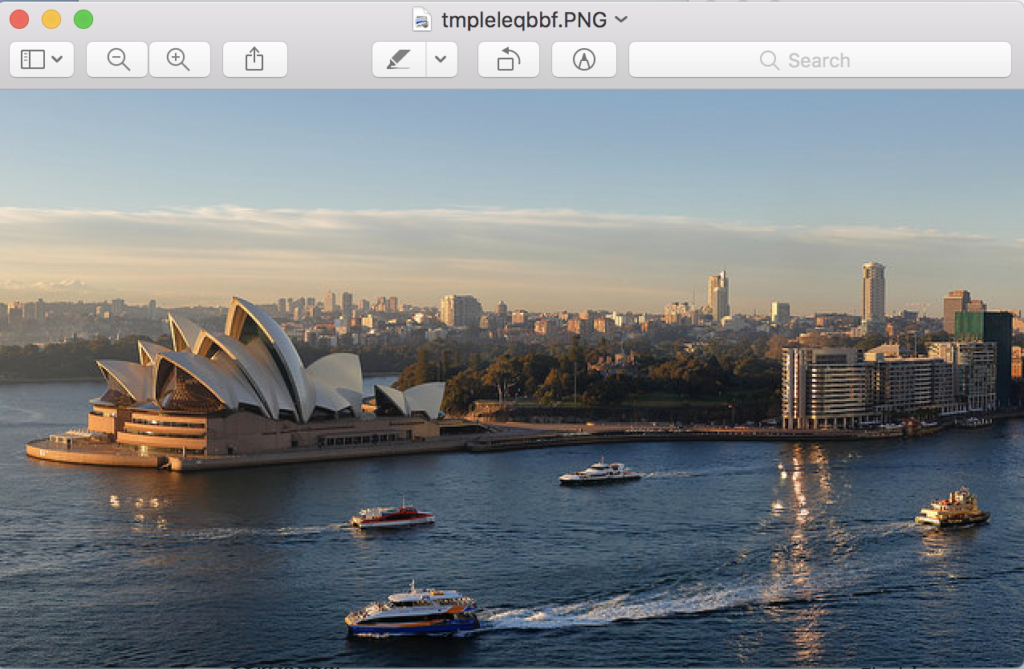 Sydney Opera House Displayed Using the Default Image Preview Application