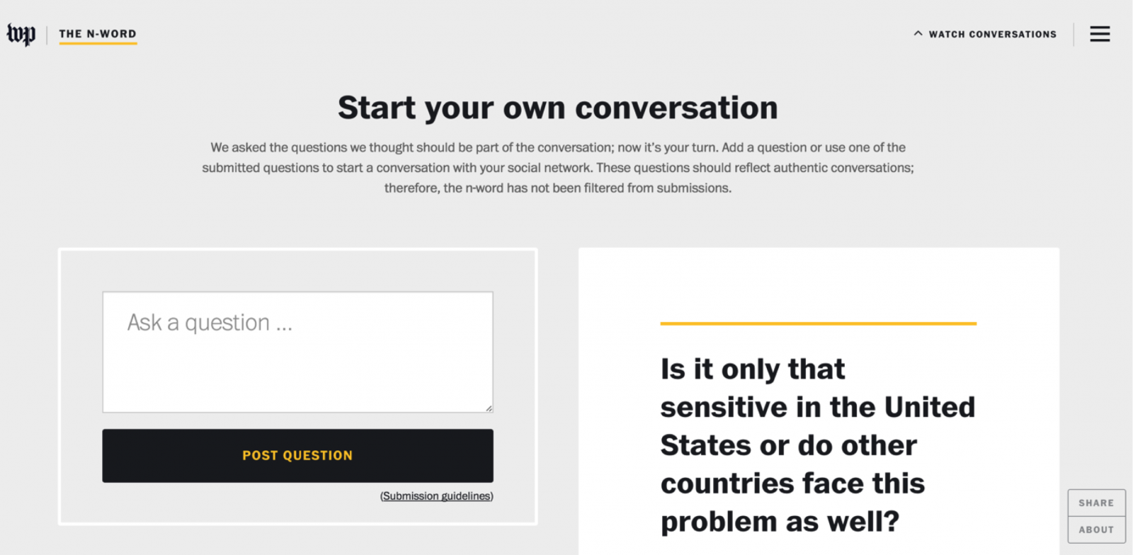 Washington Post uses a start your own conversation feature.