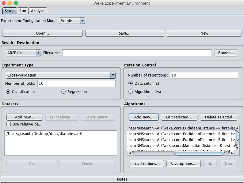 Weka Configured Algorithm Tuning Experiment