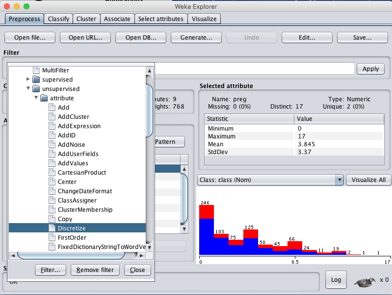 Weka Select Discretize Data Filter