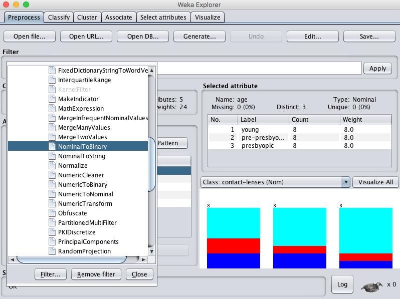Weka Select NominalToBinary Data Filter