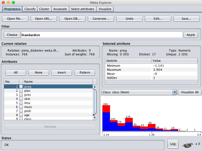 Weka Standardize Pima Indians Dataset
