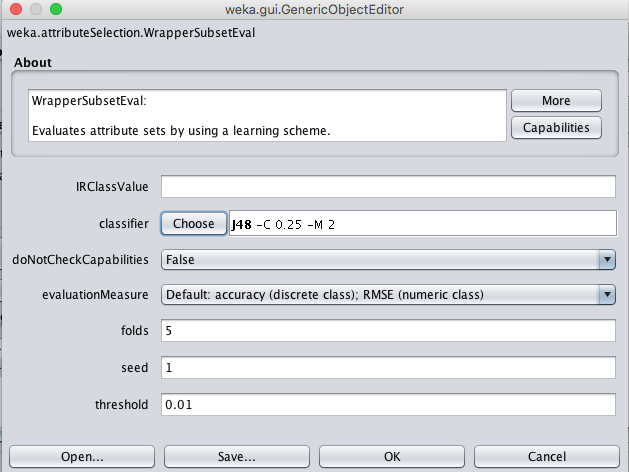 Weka Wrapper Feature Selection Configuration